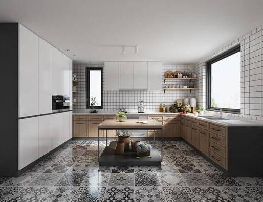 厨房, 橱柜, 厨具, 洗手台, 北欧