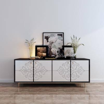 电视柜, 边柜, 陈设品, 摆件, 装饰画, 花瓶