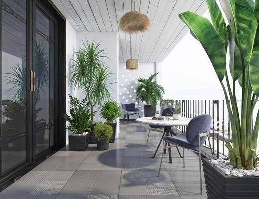 现代休闲阳台, 露台, 植物, 休闲桌椅