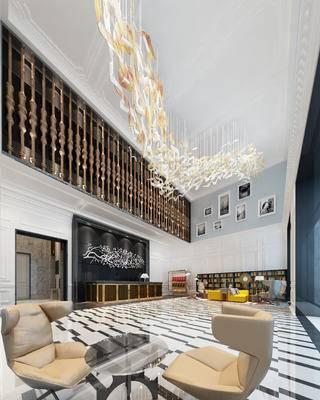 欧式, 酒店, 大堂, 桌椅组合, 灯具