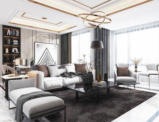 客厅, 沙发组合, 茶几, 电视柜, 吊灯, 桌椅组合