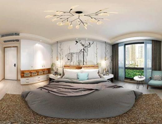 卧室, 床, 吊灯, 休闲椅, 边几, 现代, 床头柜, 衣柜