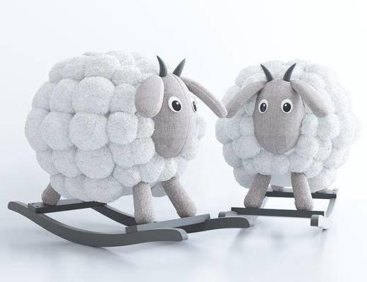 现代风格玩具绵羊