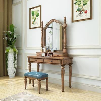 梳妆台, 桌椅组合, 摆件组合, 盆栽植物