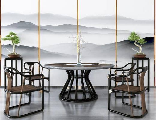 桌椅组合, 餐桌, 餐椅, 单人椅, 装饰架, 盆栽, 绿植植物, 花瓶花卉, 中式