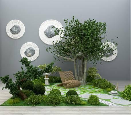 现代, 园艺小品, 园林, 绿植, 植物