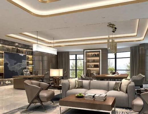 办公室, 沙发组合, 吊灯, 茶几, 文件柜