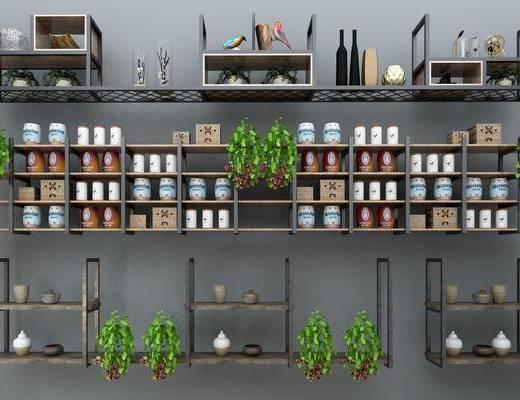 装饰柜架, 摆件, 植物, 盆栽, 工业风装饰柜架, 工业风, 装饰品, 储物罐