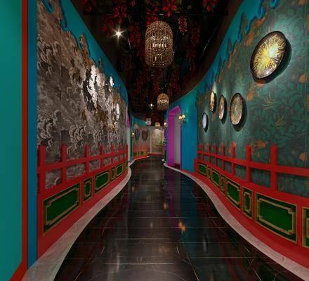 过道, 墙饰, 壁灯, 吊灯, 东南亚