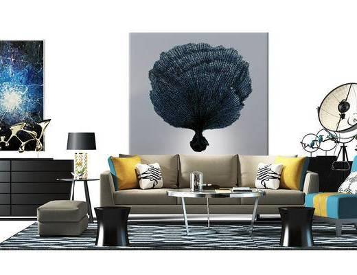 边柜, 餐边柜, 装饰柜, 沙发茶几组合, 沙发椅, 落地灯, 盆景, 植物, 地毯, 沙发组合, 现代