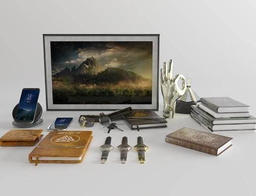 手表, 书本, 无线充电器, 钥匙