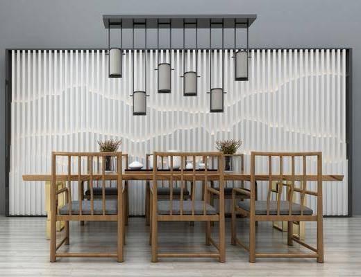 桌椅组合, 茶桌, 餐椅, 单人椅, 吊灯, 陈设品, 装饰品, 新中式