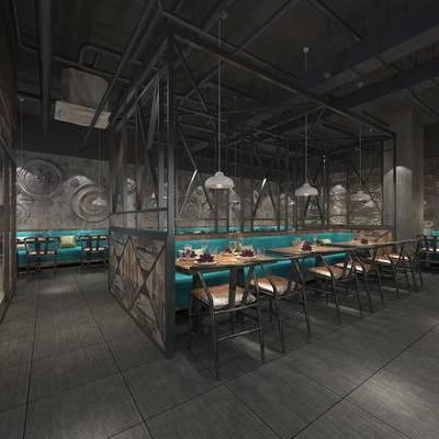 餐厅, 工业风, 餐桌椅, 桌椅组合, 餐具, 吊灯