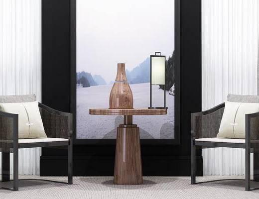 新中式, 边几, 台灯, 单椅, 单人沙发, 休闲椅, 中式