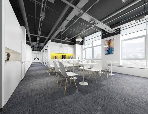 茶水间, 餐桌, 单人椅, 休闲椅, 吊灯, 装饰画, 挂画, 现代