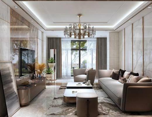 沙发组合, 茶几, 电视柜, 吊灯, 抱枕, 单椅