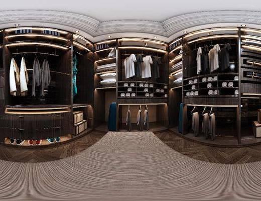 衣帽间, 衣柜, 衣服, 地毯, 现代