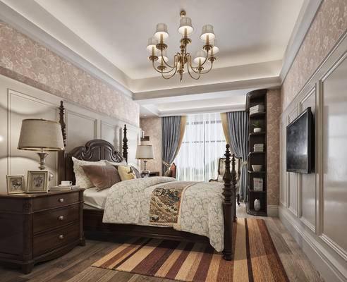 美式, 卧室, 床具, 双人床, 床头柜, 台灯, 吊灯, 书柜, 置物柜, 墙纸, 书桌, 单椅, 置物架, 摆件, 装饰品, 书籍, 书本