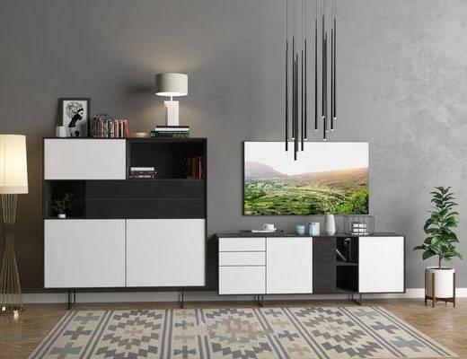 现代电视柜, 边柜, 边柜组合