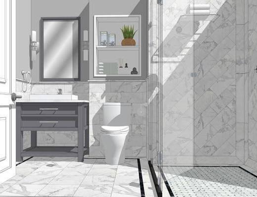卫浴组合, 洗手盆, 马桶, 壁镜