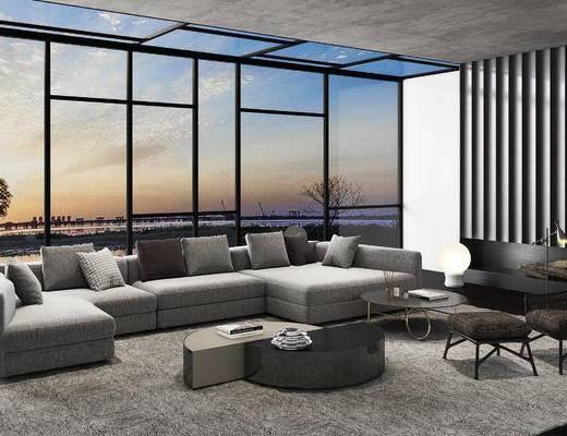沙发组合, 沙发茶几组合, 多人沙发, 现代沙发, 茶几, 现代