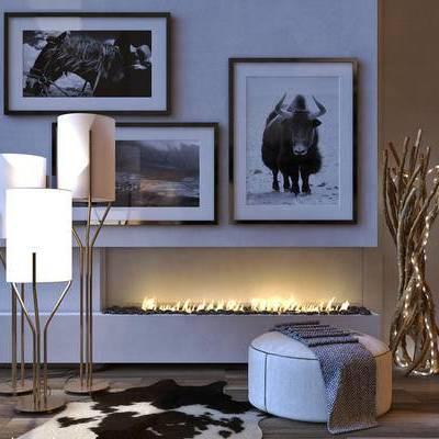 脚踏, 沙发凳, 落地灯, 挂画, 取暖火炉, 地毯, 树枝灯, 现代