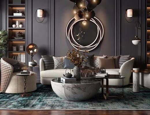沙发组合, 摆件组合, 茶几, 现代轻奢沙发组合