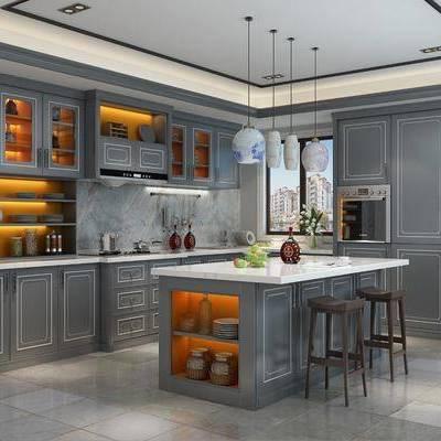 厨房, 橱柜, 后现代厨房, 后现代橱柜, 置物柜, 摆件, 装饰品, 餐具, 洗手台, 中岛柜, 吧台, 吧椅, 吊灯, 烤箱, 后现代, 双十一