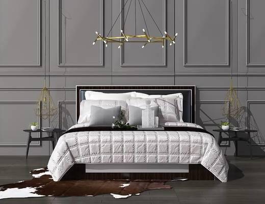 吊灯, 双人床, 床具组合, 边几