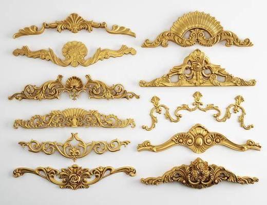 雕花, 欧式雕花, 金色, 复古
