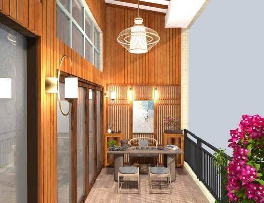 假山水景, 花园阳台, 植物, 茶桌, 桌椅组合, 茶具