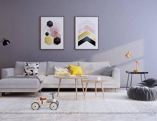 沙发组合, 茶几, 装饰画, 落地灯, 装饰品