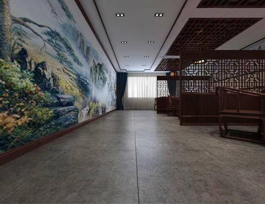 茶馆, 茶楼, 餐桌, 餐椅, 单人椅, 吊灯, 圆桌, 风景画, 中式