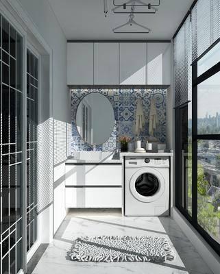 阳台露台, 洗衣机, 装饰镜, 洗衣机组合, 现代