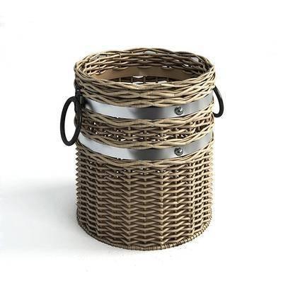 摆件组合, 藤编竹篮, 收纳篮, 垃圾桶, 艺术, 复古, 现代
