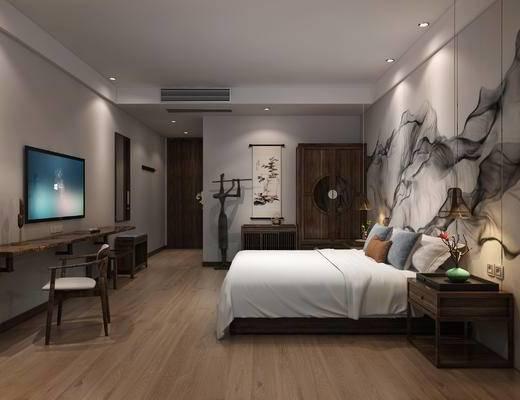 摆件, 双人床, 衣柜, 单椅, 床头柜, 新中式, 民宿, 客房, 床具, 墙画, 挂画, 边几, 装饰柜