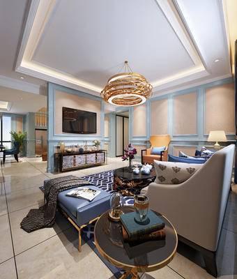 简欧客厅, 简欧, 金属吊灯, 沙发组合, 电视柜, 植物