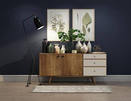 装饰柜, 边柜, 装饰画, 植物画, 摆件, 装饰品, 陈设品, 落地灯, 北欧