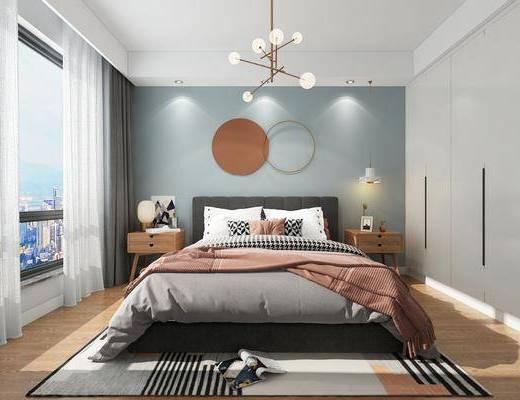 双人床, 墙饰, 床头柜, 地毯, 衣柜