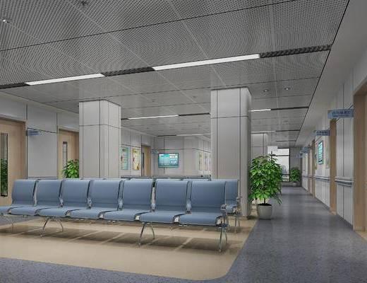 医院, 休息区, 等候区, 现代, 排椅