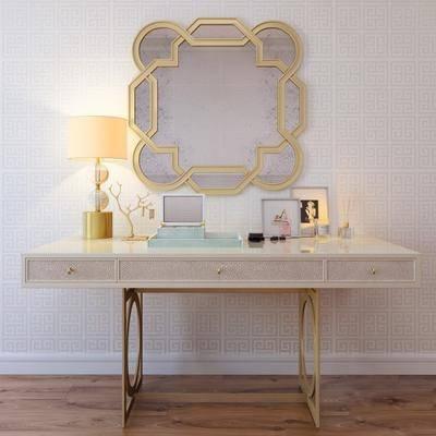 梳妆台, 台灯, 镜子, 相框, 桌子, 现代