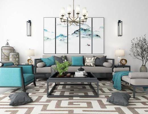 新中式沙发组合, 沙发茶几组合, 沙发组合, 中式沙发组合