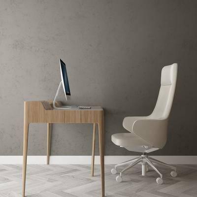 現代辦公桌, 電腦, 單椅