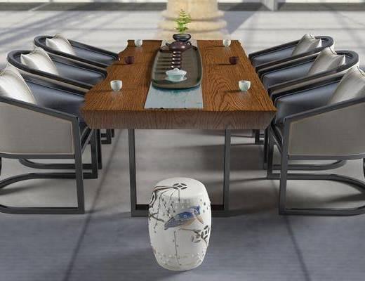新中式茶桌, 茶桌, 单椅, 茶具, 新中式