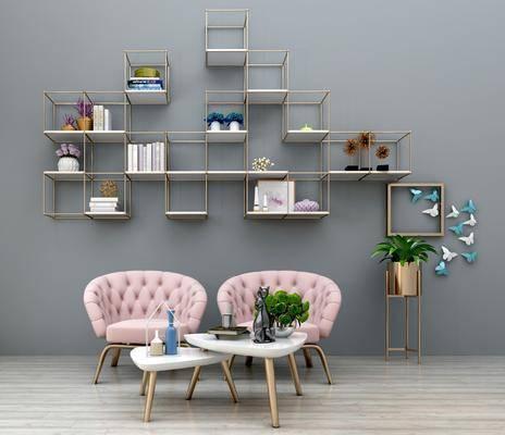 休闲沙发椅, 茶几, 置物架, 盆栽, 绿植植物, 摆件, 装饰品, 陈设品, 装饰架, 摆件组合, 现代