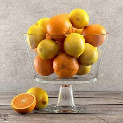 橙子, 玻璃, 水果盘, 现代