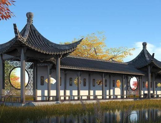 中式, 长廊, 景观亭