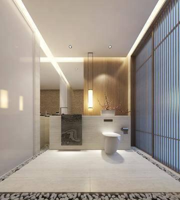 ?#39057;?#23458;房, 卫生间, 马桶, 吊灯, 现代