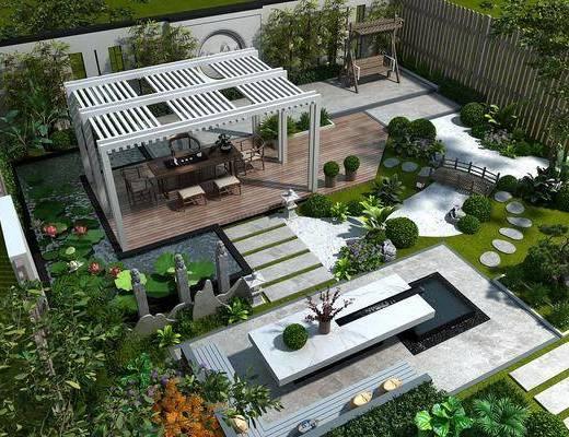 新中式, 庭院, 花园