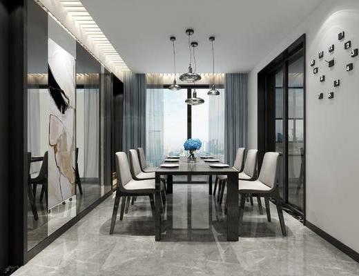 现代, 餐厅, 餐桌椅, 灯具
